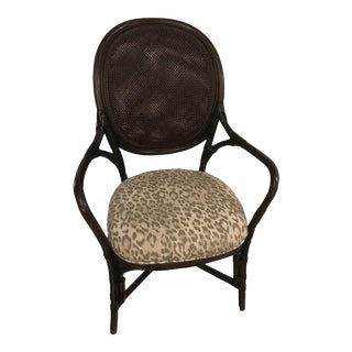 Selemat Dahlia Leopard Print Seat Cane Arm Chair For Sale