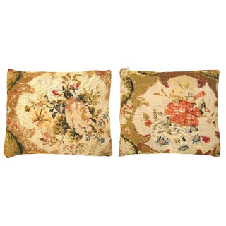 """Vintage Art Deco Decorative English Needlepoint Pillows, With Terracotta Linen Backing, Size 22"""" X 16"""" (1'10"""" X 1'4"""") - a Pair For Sale"""