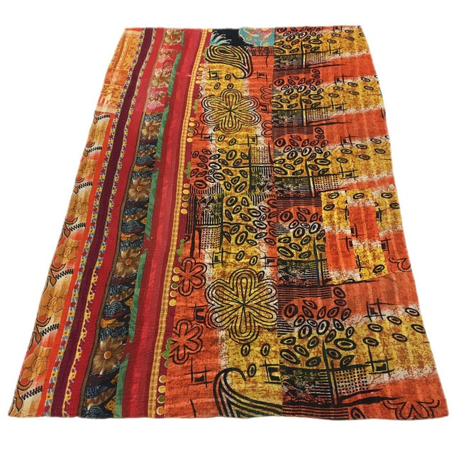 Boho Chic Colors of Autumn Vintage Kantha Quilt For Sale - Image 3 of 4