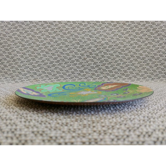 1960s Abstract Enamel on Copper Butterfly Dish For Sale - Image 5 of 7