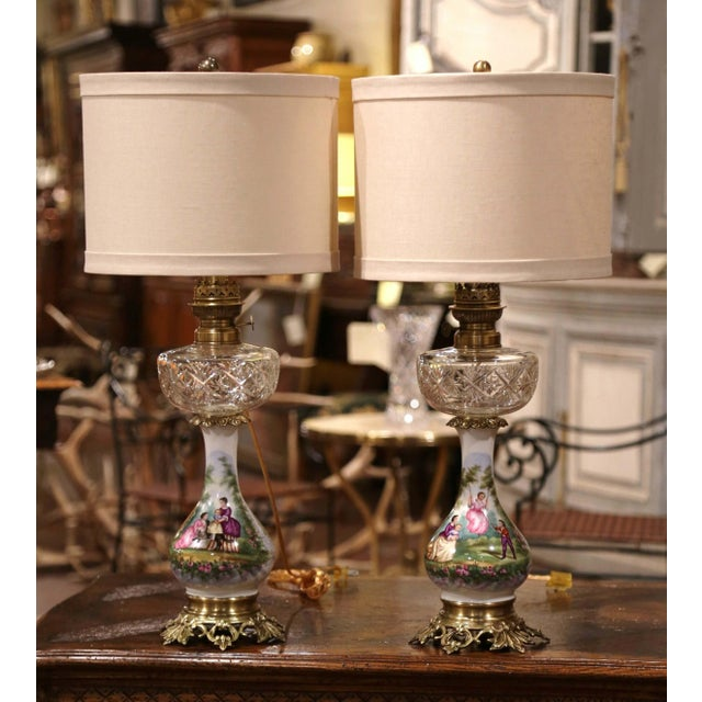 Mid 19th Century Pair of 19th Century French Porcelain, Bronze, Brass and Cut Glass Table Lamps For Sale - Image 5 of 12