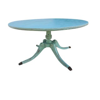 Vintage Shabby Chic Cottage Sheraton Aqua Coffee Table For Sale