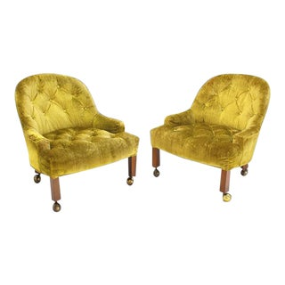 Vintage Mid Century Gold Tufted Velvet Upholstery Vintage Barrel Back Slipper Lounge Chairs- a Pair For Sale