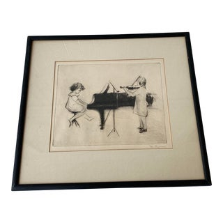 "Vintage Estate ""Allegro"" Etching on Verso by Margery Austin Ryerson For Sale"