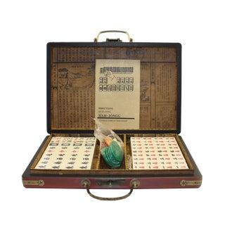 Chinese Handmade Red Vinyl Box Small Mahjong Tiles Set For Sale