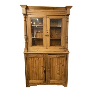 Mid 20th Century French Country Pine Display Glass Hutch For Sale