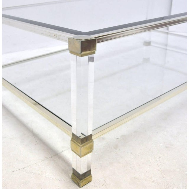 Pierre Vandel Lucite And Glass Coffee Table - Image 4 of 6