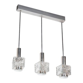 Mid-Century Modernist Etched Glass Pendant Chandelier with Chromed Fittings For Sale
