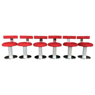 Set of Six Design for Leisure Swivel Chairs For Sale