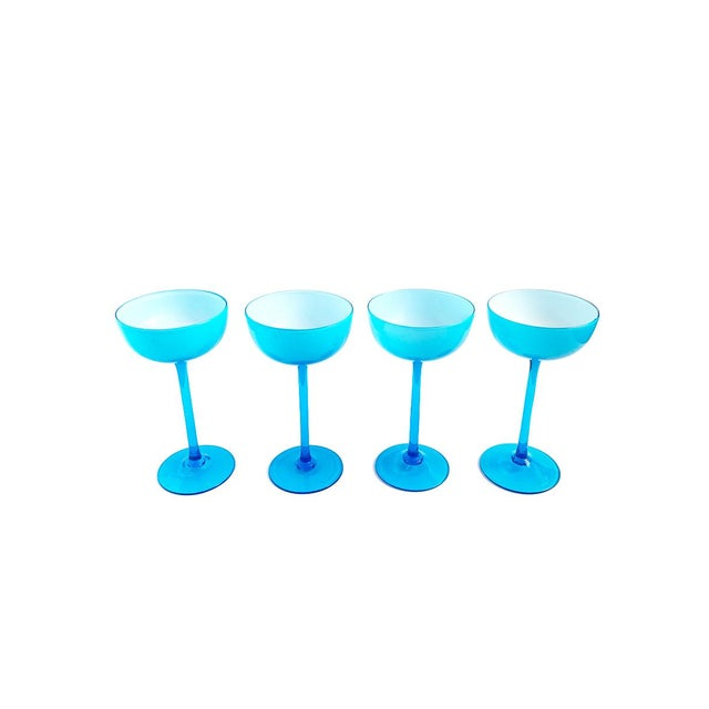 1960s Vintage Carlo Moretti Turquoise Blue Set of 13 Glasses - Set of 13 For Sale - Image 5 of 6