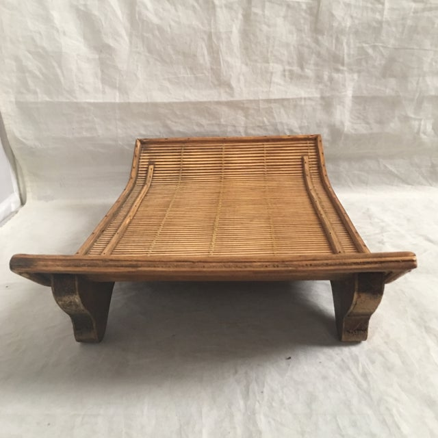 Large carved wood display stand with flared upsides in Asian style. May also be used as a serving tray. In excellent...