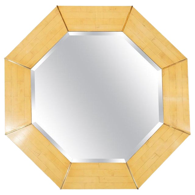 Karl Springer Mid-Century Modern Marbleized Lacquer and Brass Octagonal Mirror For Sale