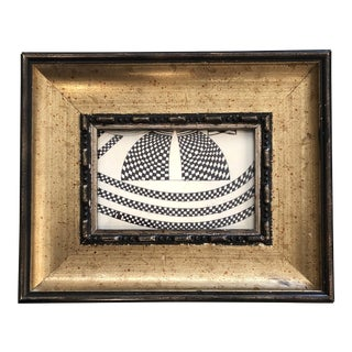 Small Original Vintage Abstract Op Art Ink Drawing Framed For Sale
