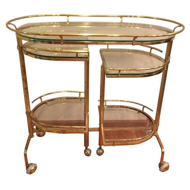 Mid-Century Brass & Glass Bar Cart - Image 1 of 11