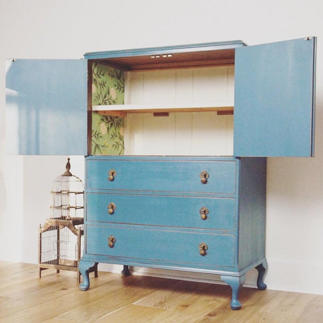1940s Cottage Blue Gentleman's Chest For Sale - Image 4 of 8