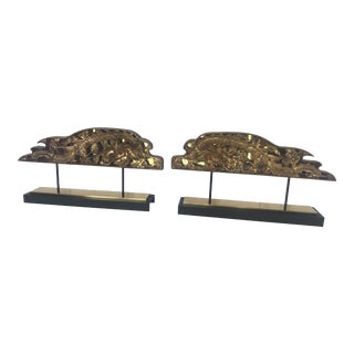 Large Carved Gilded Chinese Architectural Fragment Sculptures - a Pair For Sale