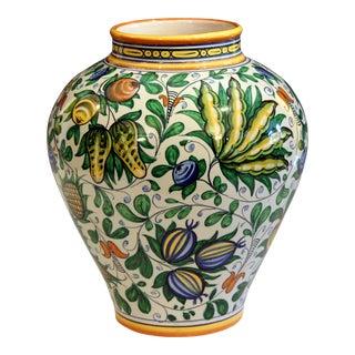 Vintage Cantagalli Italian Majolica Pottery Vase For Sale