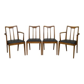 Drexel Projection Mid Century Modern Set of 4 Walnut Dining Chairs