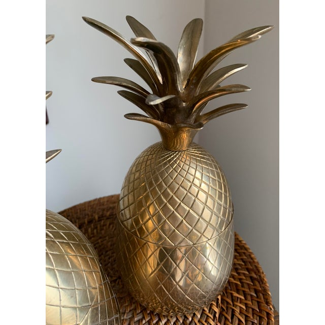 1960s 1960s Vintage Solid Brass Lidded Pineapple Containers - A Pair For Sale - Image 5 of 10