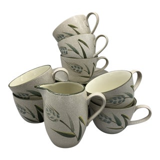 1960s Harmony House Wild Rice Cups, Saucers & Creamer - Set of 15 For Sale