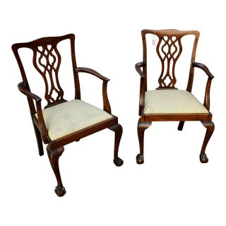 Chippendale Mahogany Chairs- a Pair For Sale
