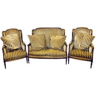 Louis XVI Living Room Suite Couch and Two Lounge Chairs For Sale