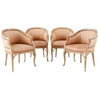 Set of Four Faux Bamboo Leather Barrel Back Lounge Chairs For Sale