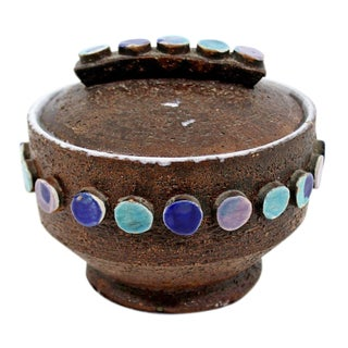 Mid-Century Modern Bitossi Ceramic Jeweled Covered Vessel Signed Italy For Sale