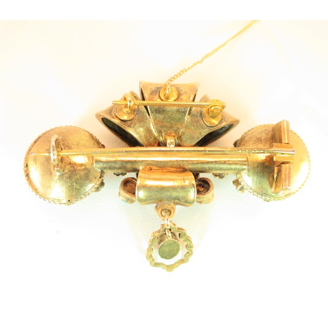 Georgian Baroque Brooch 10k Gold Amethyst Turquoise Pearls Circa 1840 For Sale - Image 9 of 12