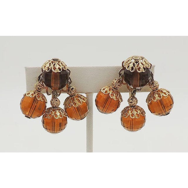 1950s 1950s Napier Brown Faceted Bead Earrings For Sale - Image 5 of 7