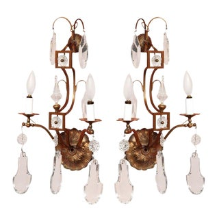 French Brass & Crystal Sconces - a Pair For Sale