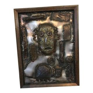 1970s Vintage Brutalist Metal Artisan Mirror For Sale