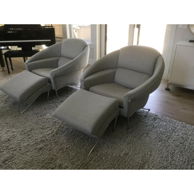 Modern Milo Baughman for Thayer Coggin Boldido Chairs and Ottomans- a Pair For Sale - Image 11 of 11