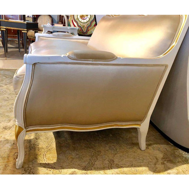 White Gilt and Paint Decorated Settee / Loveseat in a Fine Satin Upholstery For Sale - Image 8 of 13
