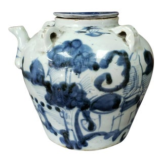 Early 19th Century Chinese Blue and White Soft Paste Porcelain Kendi, Marked with Wax Seal For Sale