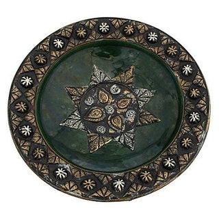 Moroccan Hand-Engraved Ceramic Plate/Bowl For Sale