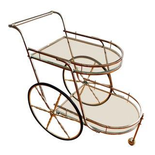 Glass & Chrome 2-Tier Mid-Century Bar Cart For Sale