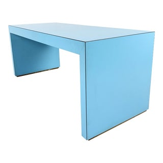 Vintage 1980s Postmodern Light Blue Laminate/Formica Coffee Table For Sale