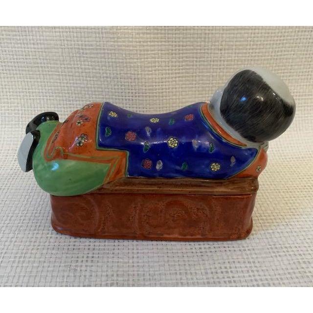 Asian Vintage Asian Porcelain Headrest Trinket Box For Sale - Image 3 of 6