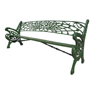 Wide Cast Iron Sculpted Bench For Sale