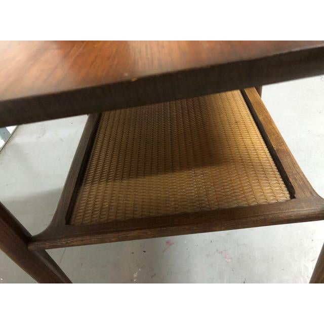 Lane Furniture Mid Century Walnut Wicker Shelf Side Table For Sale - Image 4 of 6
