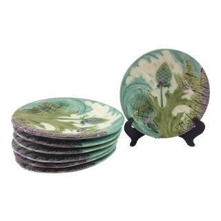 Luneville French Majolica Asparagus & Artichoke Plates - Set of 7