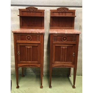 1900s, Art Nouveau Pair of Nightstands in Mahogany Top in Marble Preview