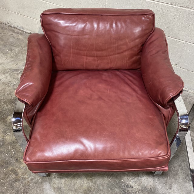 Mid Century Chrome Leather Club Chairs For Sale - Image 4 of 12