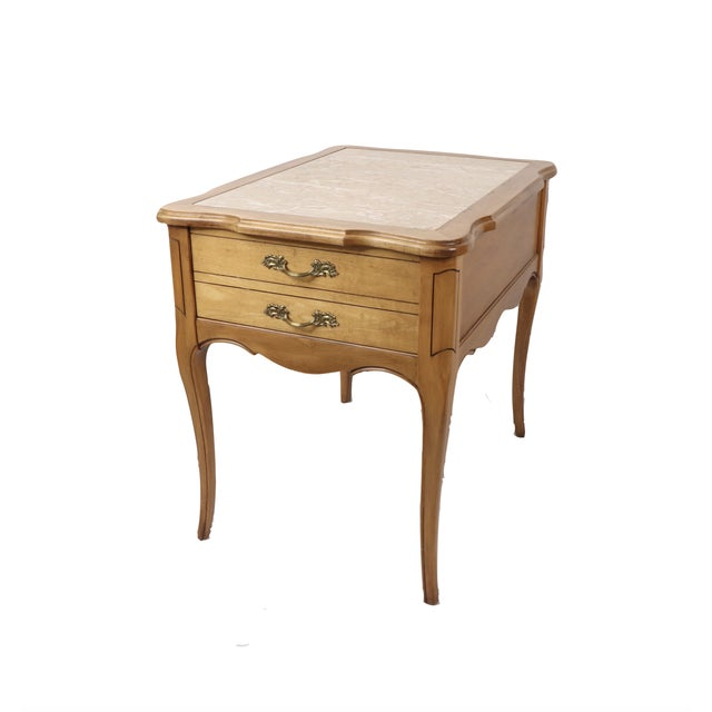 Vintage 1960s Hammary French Provincial Marble Inlay Oak Wood End / Side Table For Sale - Image 13 of 13