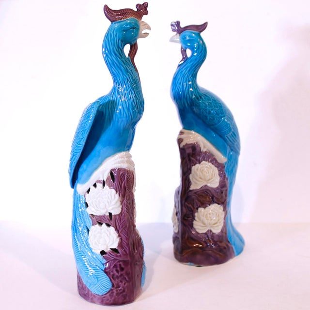 Turquoise and Manganese Glazed Chinese Porcelain Ho-Ho Birds- a Pair For Sale - Image 12 of 13