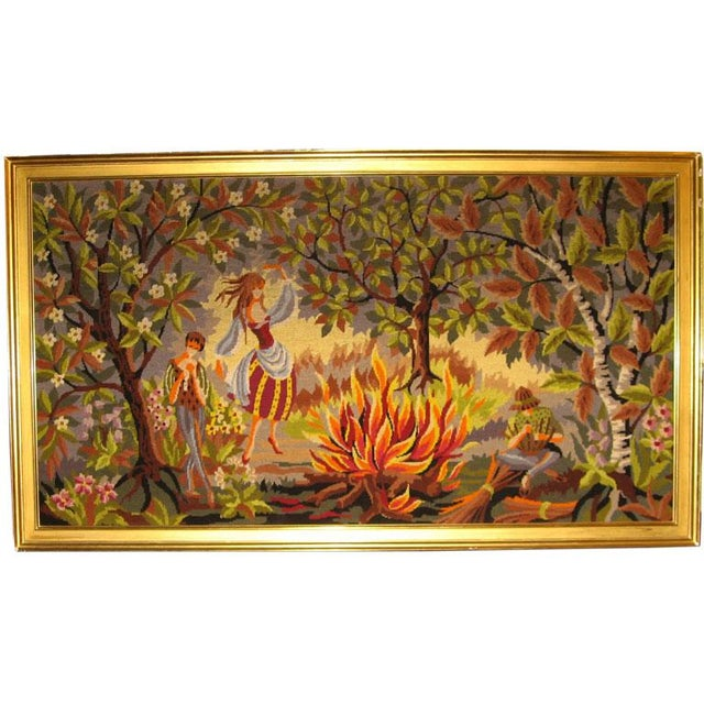 French Mid-Century Hand-Woven Tapestry With Rural Scene For Sale - Image 4 of 4
