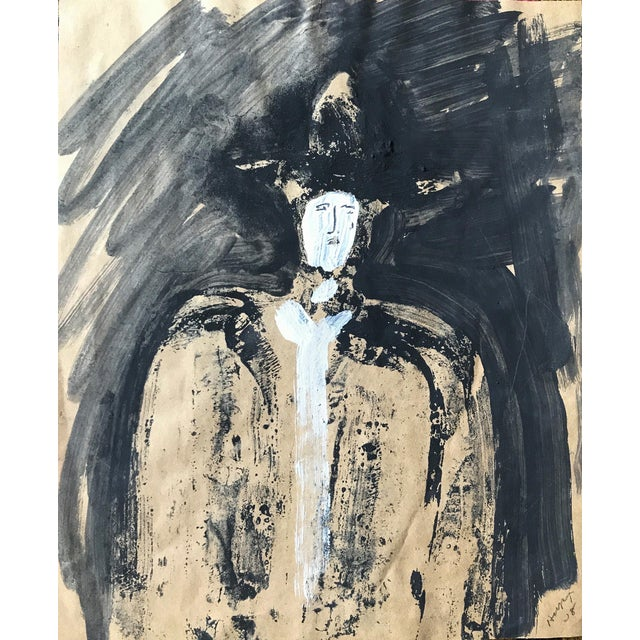 "1968 Jack Hooper ""Man With Hat"" Painting - Image 1 of 8"