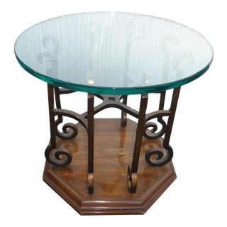 1970s Spanish Drexel Wrought Iron End Table For Sale