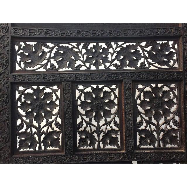 Teak 4-Panel East Indian Hand Carved Wood Screen Divider For Sale - Image 7 of 13